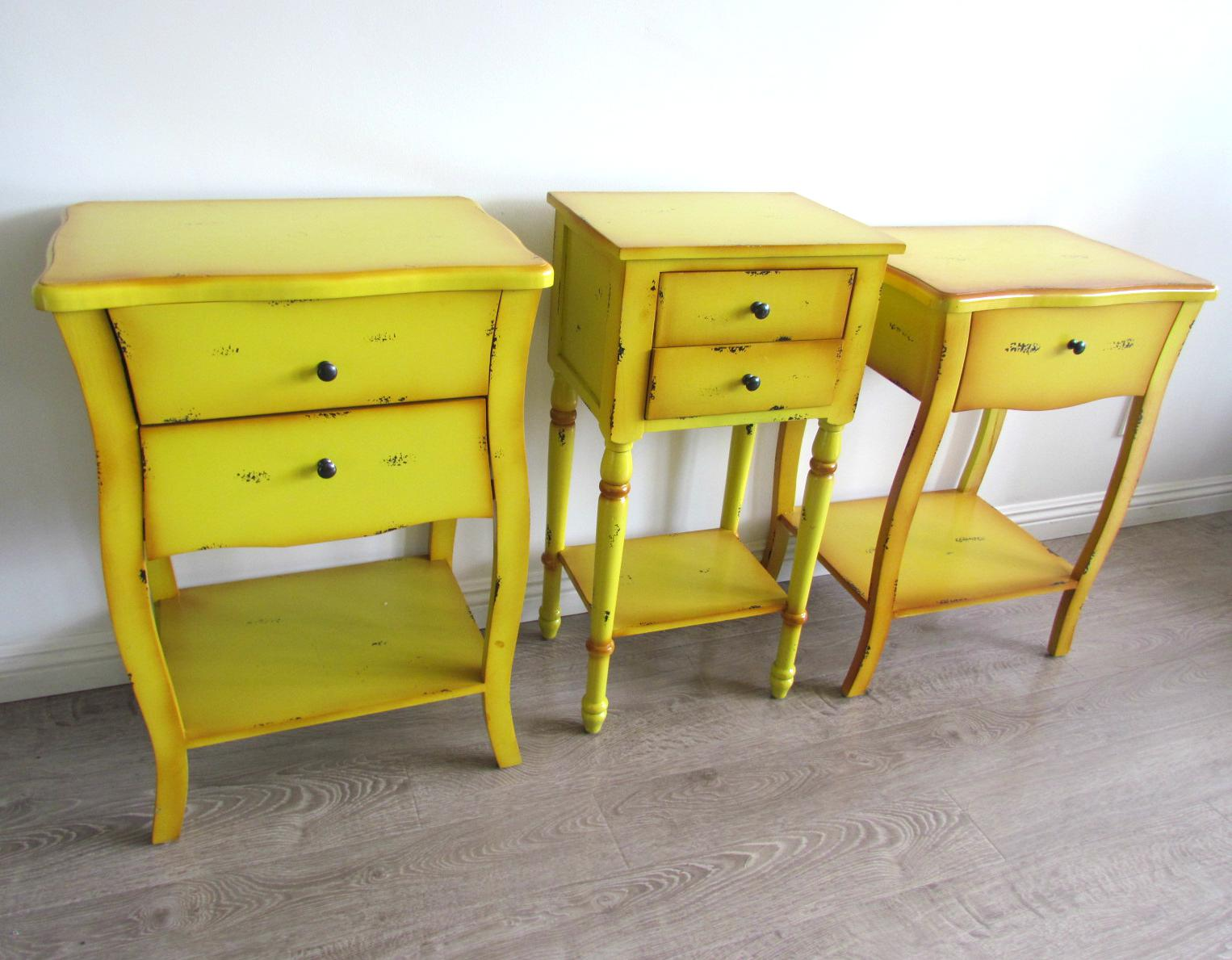 2 Drawer Yellow Distressed Accent Table   Image 6 Of 6
