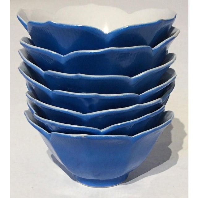 Mid-Century Blue Lotus Leaf Serving Bowls - Set of 7 - Image 2 of 6