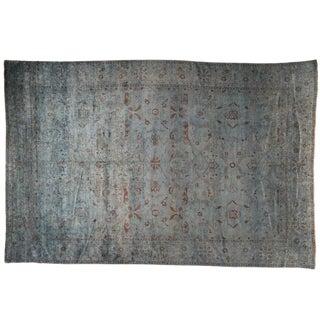 Silky Vintage Blue & Gray Rug - 12′ × 18′
