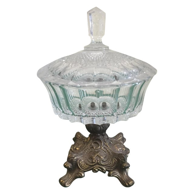 Antique Cut Glass and Bronze Candy Dish - Image 1 of 6