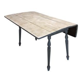 Rustic Painted Drop-Leaf Farm Table