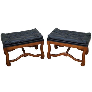Vintage Cerule Style Walnut & Faux Leather Stools - A Pair