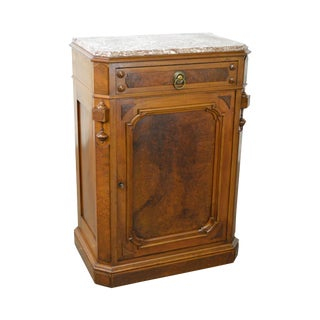 Antique 19th Century Victorian Walnut Marble Top Side Cabinet
