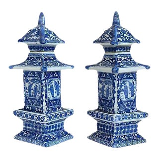 Chinese Blue & White Pagoda Jars-A Pair