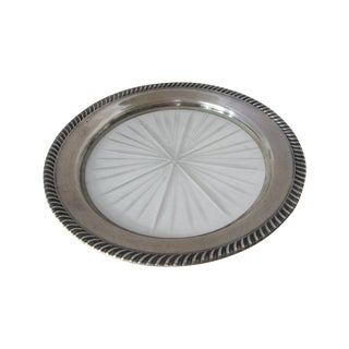 Vintage Sterling Silver and Glass Wine Coaster