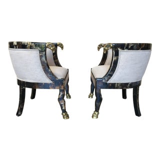 Steer Horn Covered Barrel Chairs - A Pair