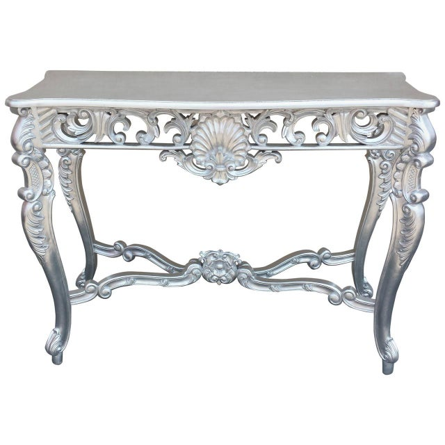 Louis XV Silver Hand-Carved Mahogany Console Table - Image 1 of 6