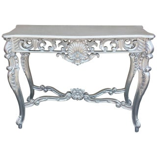 Louis XV Silver Hand-Carved Mahogany Console Table