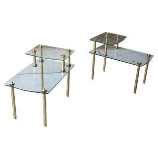 Hollywood Regency Brass & Glass End Tables - Pair