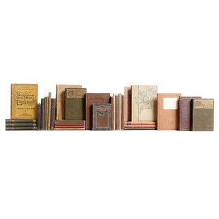 Vintage Tan & Brown Mini Books - Set of 30