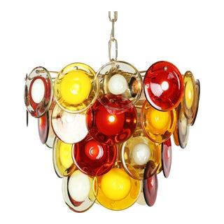 VISTOSI MURANO GLASS DISC CHANDELIER, CIRCA 1960S