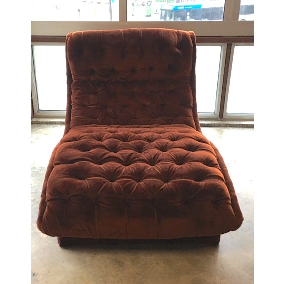 Mid-Century Custom Tufted Brown Velvet Chaise - Image 4 of 8