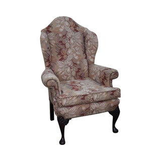 Queen Anne Style Mahogany Wing Chair Circa 1920s