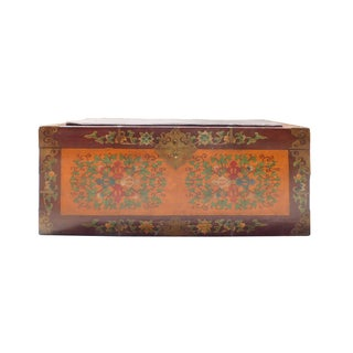 Floral Orange Brown Wood Trunk Bench Ottoman