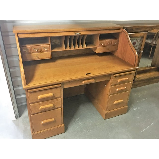 Solid Oak Roll-Top Desk With Keys - Image 3 of 10
