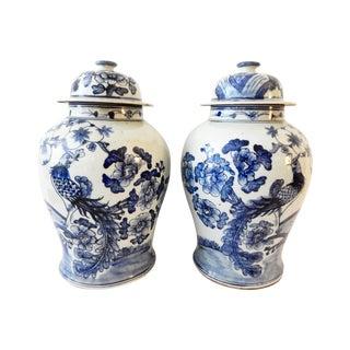 Blue & White Porcelain Ginger Jars - A Pair