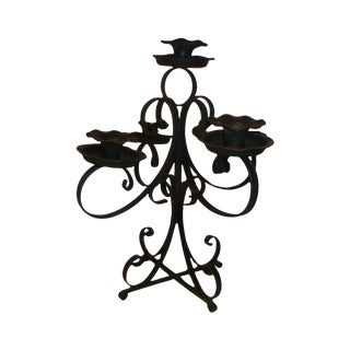 Mid-Century Wrought Iron Candelabra Candle