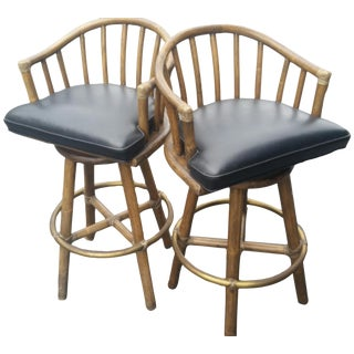 McGuire Rattan Bamboo Swivel Barstool - A Pair