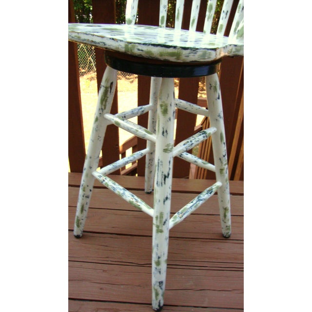 Image of Country Cottage Hand Painted Distressed Bar Stool