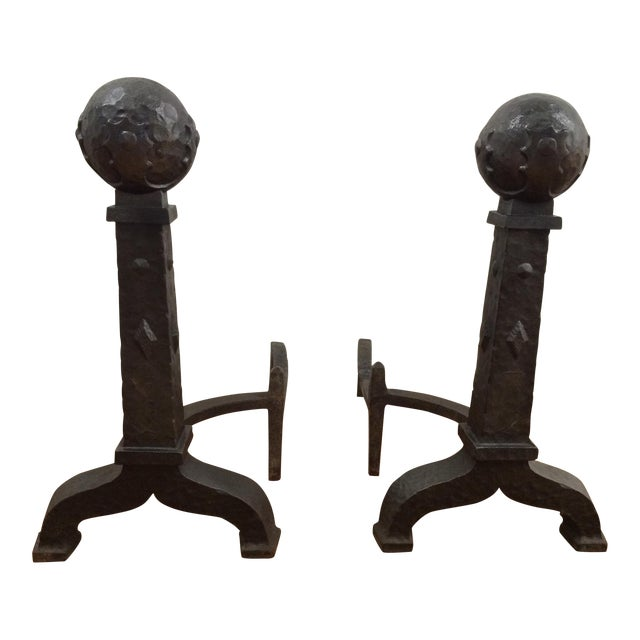 Pair Of Vintage Cast Iron Andirons Chairish