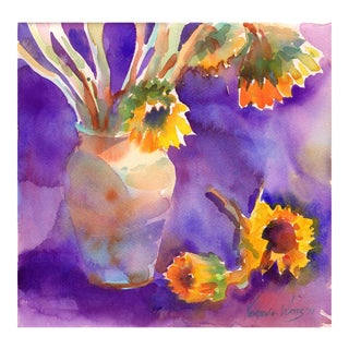 Original Sunflowers on Purple Watercolor Painting