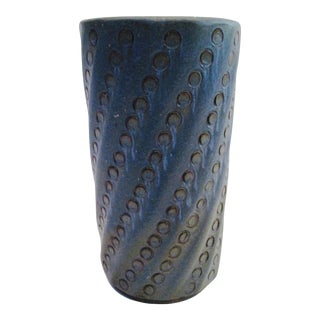 Mid-Century Textured Blue Planter