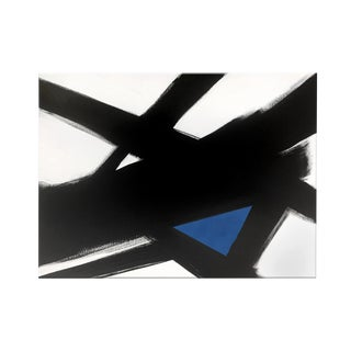 """Abstract Black & White Slash No. 4 BLUE"" Original Painting"