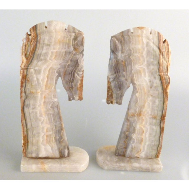 Handmade Onyx Horse Bookends - A Pair - Image 2 of 9