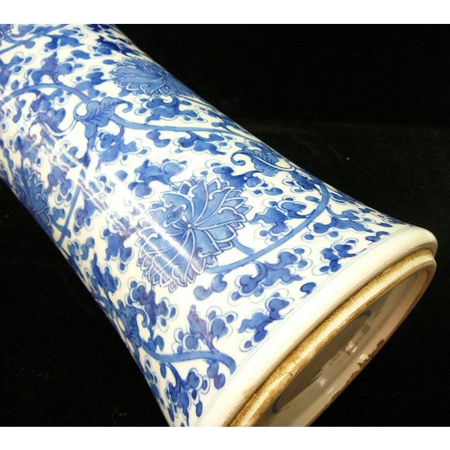 Chinese Vintage Blue & White Flower Porcelain Vase - Image 6 of 8