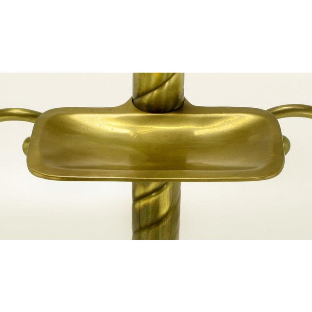 Spiral Brass Valet With Brass Ball Finial & Tray On Tripod Base - Image 5 of 6