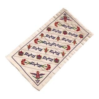 Tulip Design Suzani Runner Pure Silk Handmade Suzani Tablecloth