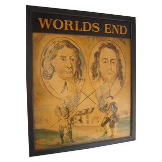 Worlds End Painted on Wood, English Pub Sign