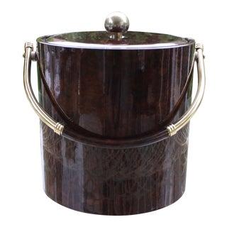 Drulane Burlwood Vinyl & Brass Ice Bucket