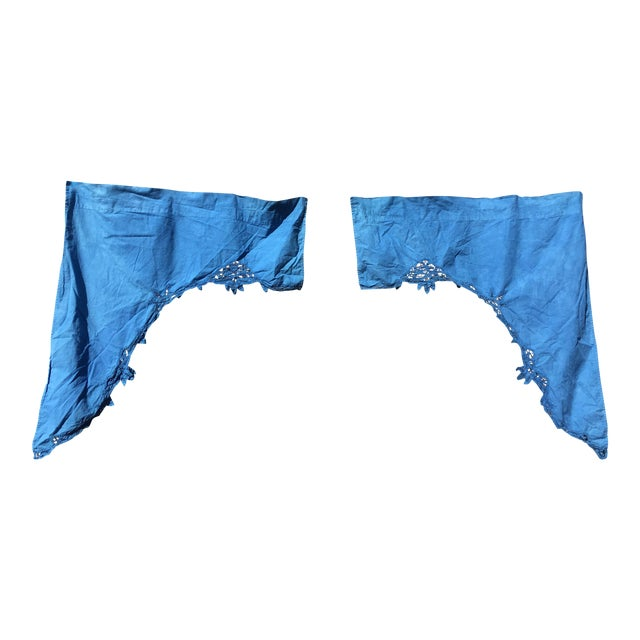 Image of Vintage Linen Indigo Dyed Cafe Curtain Set - A Pair