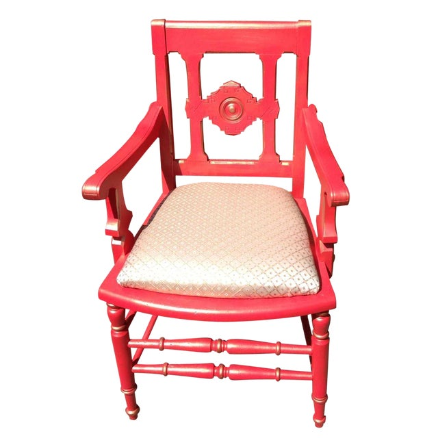 Victorian Eastlake Accent Chair Coral - Image 1 of 7