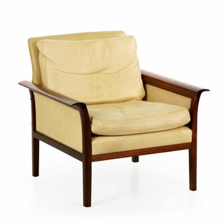 Rosewood Leather Lounge Chair by Hans Olsen C.1960