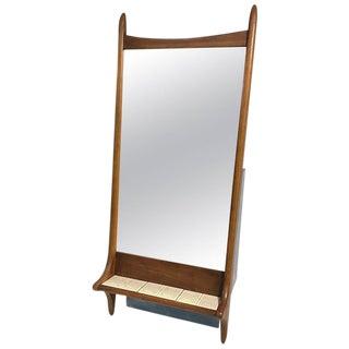 Vladimir Kagan Style Sculptural Danish Modern Wooden Mirror With Tile Shelf