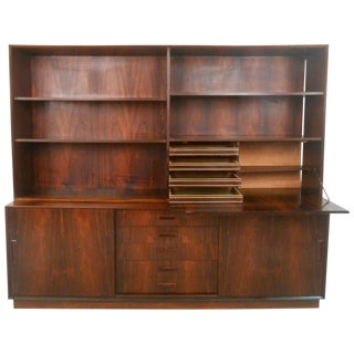 Mid-Century Modern Danish Rosewood Drop-Front Hutch Sideboard