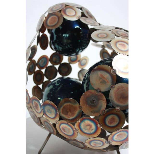 Steel and Enameled Porcelain Abstract Brutalist Table Sculpture - Image 10 of 10