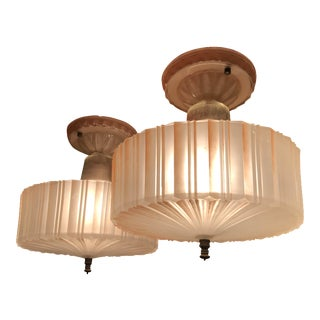 Vintage Pink Glass Lamps - a Pair