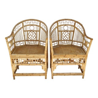 Bamboo Chinoiserie Pavilion Style Chairs - A Pair