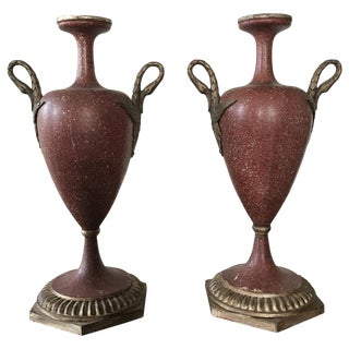 19th Century Faux Porphyry Urns - A Pair