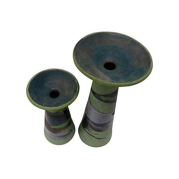 Handmade Partial Glazed Candle Holders - Pair - Image 3 of 5