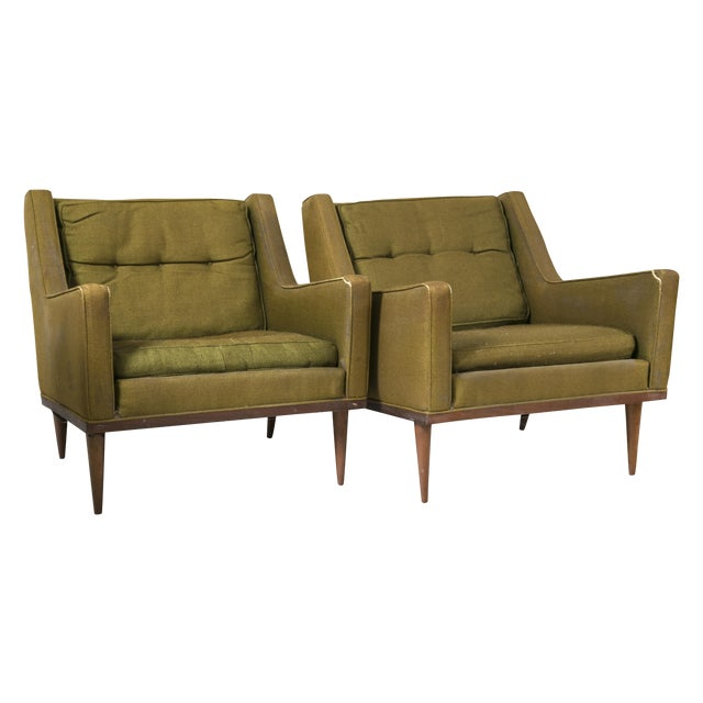 Milo Baughman Vintage 1950s Green Chairs - A Pair - Image 1 of 6