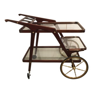 1940s Italian Wood & Brass Bar Cart In The Style of Lacca