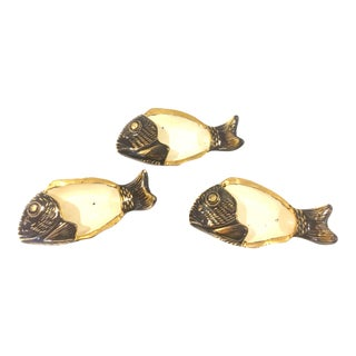 Mid-Century Ceramic Gilt Fish Dish - Set of 3