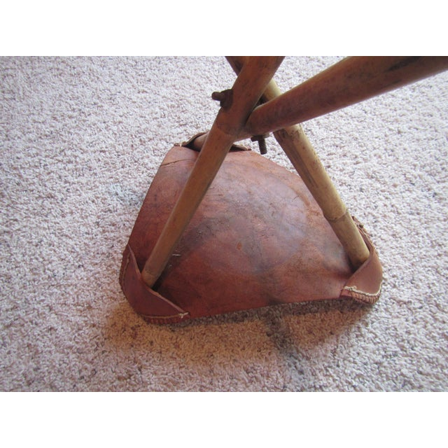 Vintage Mexican Craft Mid Century Red Leather Stool - Image 9 of 11