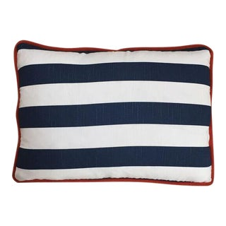 Kim Salmela Navy & White Striped Pillow with Orange Welt