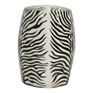 Zebra Pattern Pottery Garden Seat