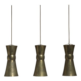 Three Large Hand-Hammered Brass Bauhaus Pendants, Hayno Focken, Germany, 1930s
